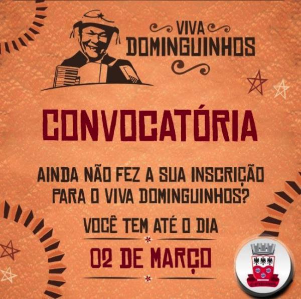 Inscrições para 5º Viva Dominguinhos encerram hoje!