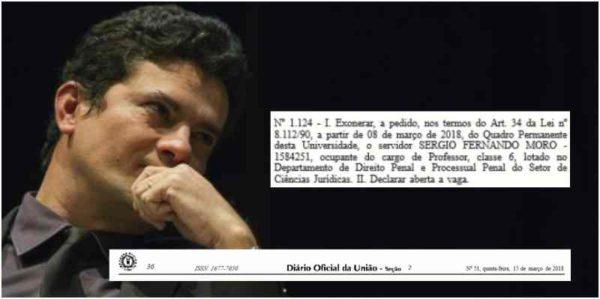 URGENTE: Diário Oficial da União publica exoneração de Sérgio Moro