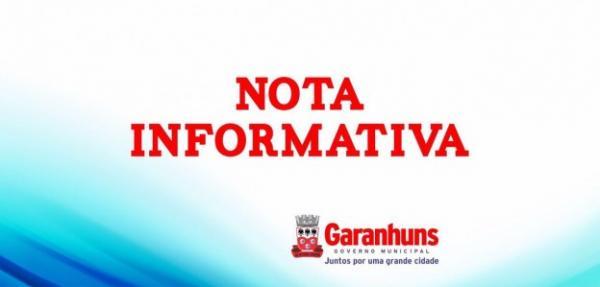 Nota informativa - Funcionamento da Prefeitura de Garanhuns no feriado de Santo Antônio