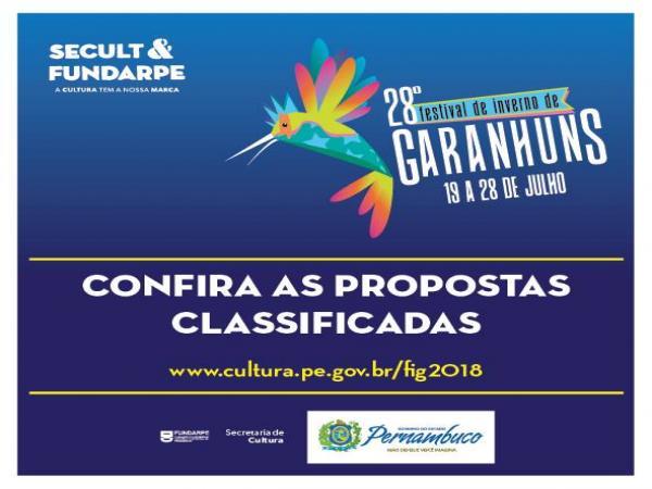 FIG 2018: A Secretaria de Turismo e Cultura divulgou as propostas classificadas na análise de mérito artístico-cultural