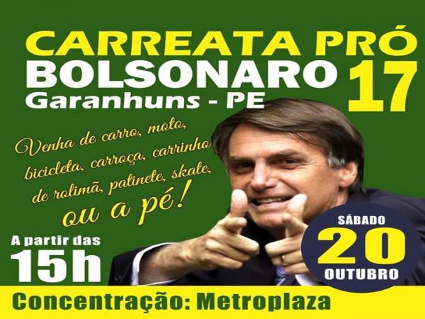 Carreata pró-Bolsonaro será realizada neste sábado em Garanhuns