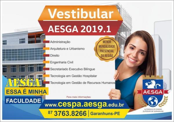 VESTIBULAR 2019: AESGA abre inscrições para vestibular