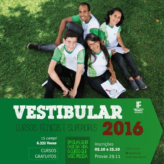 Inscrições Abertas Vestibular IFPE 2016