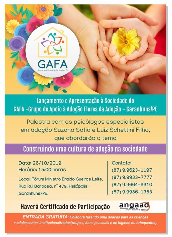 """GAFA - Grupo de Apoio à Adoção """"Flores da Adoção"""" será lançado no próximo dia 26 em Garanhuns"""