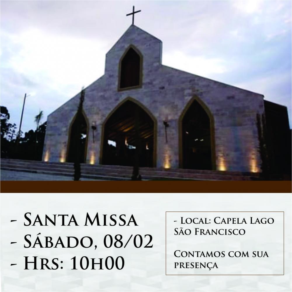 Convite para Santa Missa na Capela Lago São Francisco