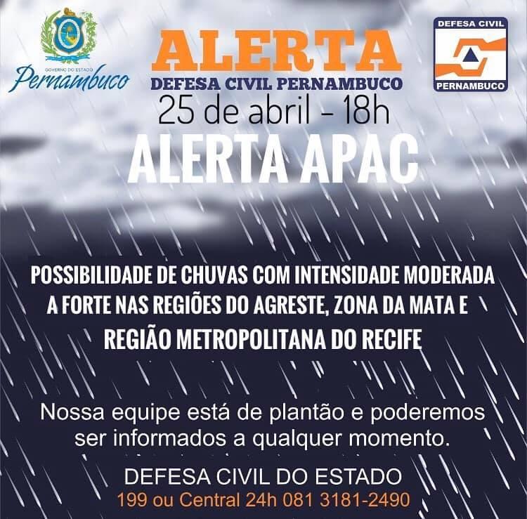 Apac emite alerta de chuvas moderadas a forte para as próximas 24h em quatro regiões do estado