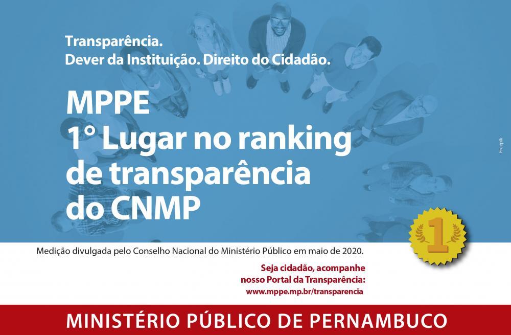 MPPE é líder na Transparência entre os Ministérios Públicos do Brasil