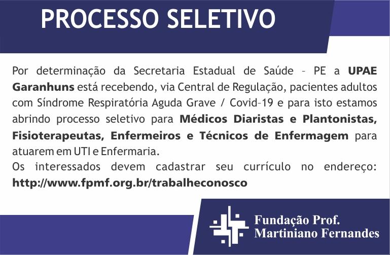 UPAE Garanhuns abre novo Processo Seletivo para atuar no atendimento de pacientes da Covid-19