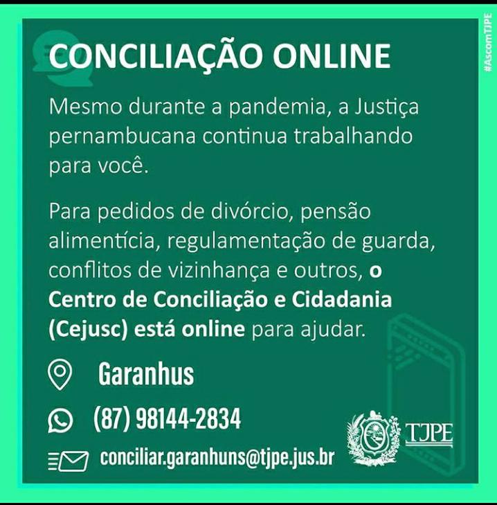 GARANHUNS: Justiça continua com atendimento online