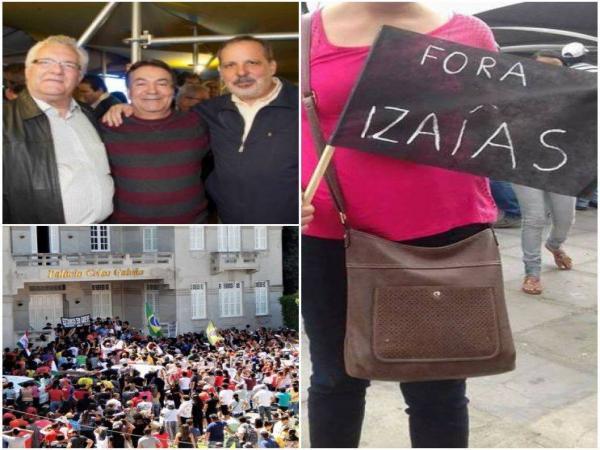 PROTESTO EM FRENTE À PREFEITURA: Prefeito Izaías Régis também foi alvo das manifestações