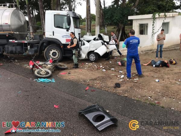 Grave acidente deixa um morto e outro gravemente ferido na BR-424, em Brejão