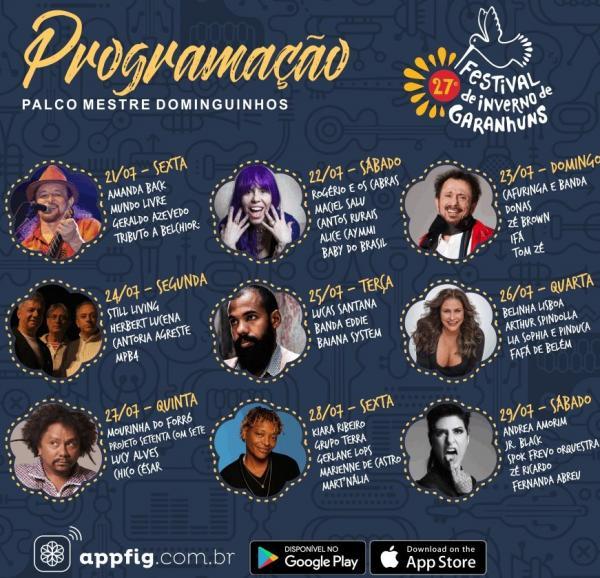 Já está disponível a programação completa do 27º Festival de Inverno de Garanhuns