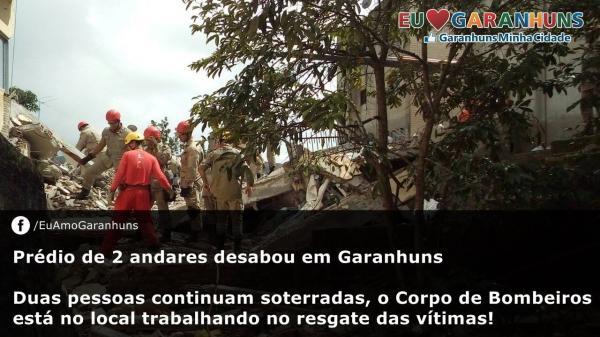 Duas pessoas desaparecidas após desabamento de prédio em Garanhuns