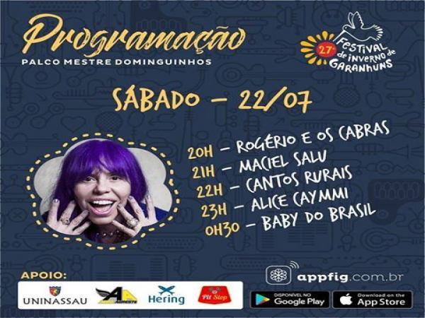 27º FESTIVAL DE INVERNO DE GARNHUNS AGENDA CULTURAL / SÁBADO, (22/07)