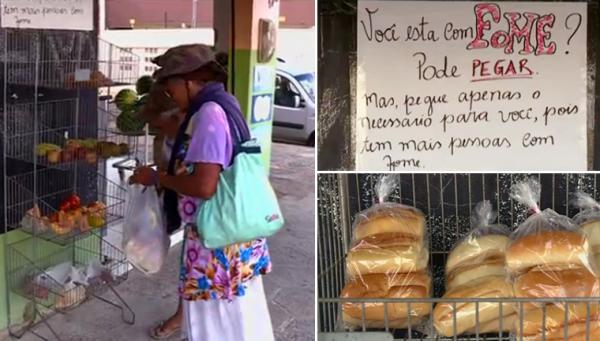 Mercadinho em Pernambuco tem prateleira com alimentos para quem tem fome