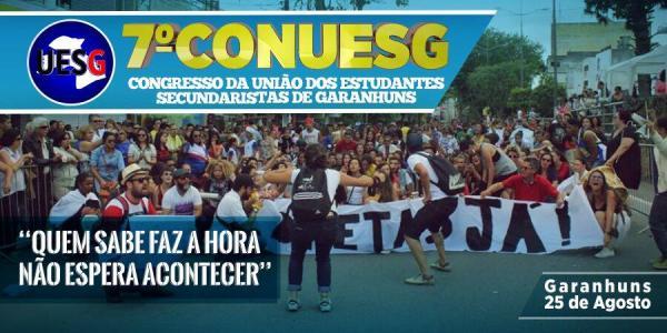 UNIÃO DOS ESTUDANTES SECUNDARISTAS DE GARANHUNS REALIZARÁ AMANHÃ SEU 7° CONGRESSO