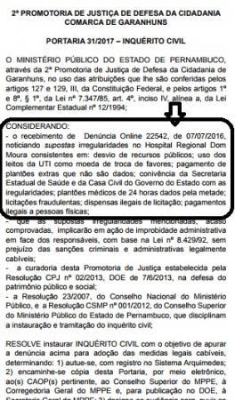 Supostas irregularidades no Hospital Dom Moura viram alvo de investigação por parte do Ministério Público