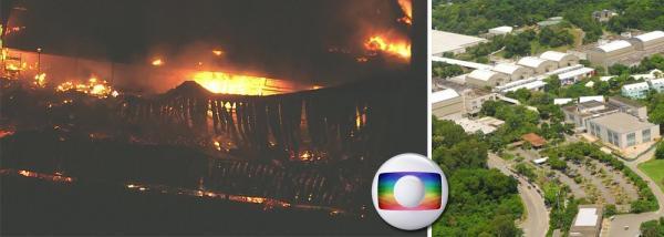 Incêndio de grandes proporções atinge galpão da TV Globo no Projac, em Jacarepaguá no Rio de Janeiro